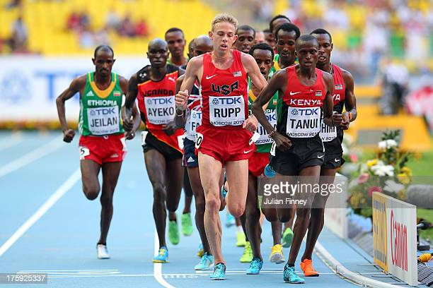 Galen Rupp of the United States and Paul Kipngetich Tanui of Kenya compete in the Men's 10000 metres final during Day One of the 14th IAAF World...