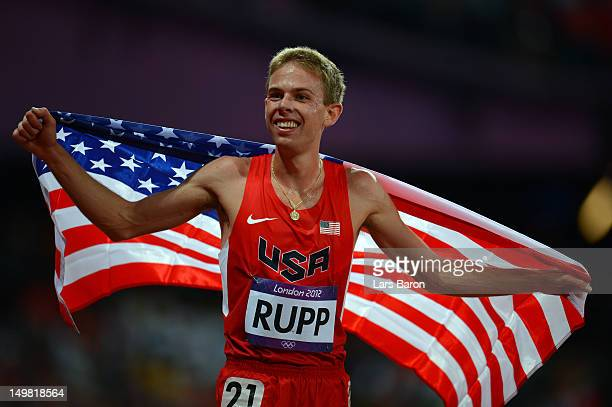Galen Rupp of the United States celebrates after winning silver in the Men's 10000m Final on Day 8 of the London 2012 Olympic Games at Olympic...