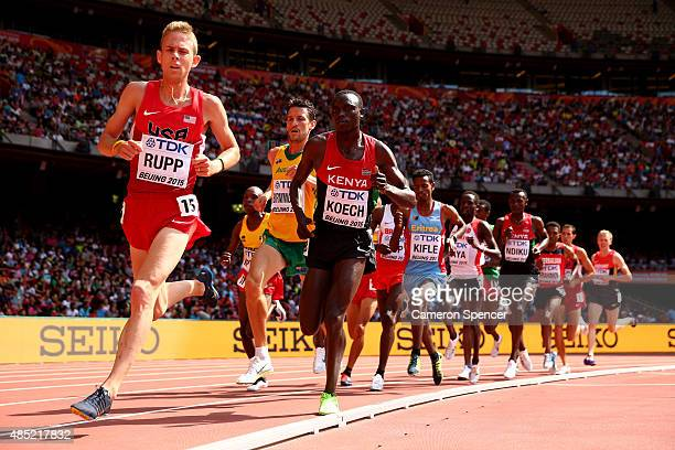 Galen Rupp of the United States leads the pack in the Men's 5000 metres heats during day five of the 15th IAAF World Athletics Championships Beijing...