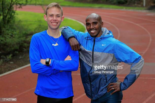Galen Rupp of the USA and Mo Farah of Great Britain pose for a portrait at the Nike campus on April 13 2013 in Beaverton Oregon
