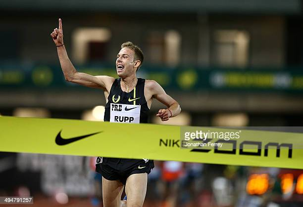 Galen Rupp of USA celebrates setting an American record of 264436 after winning the 10000m during day 1 of the IAAF Diamond League Nike Prefontaine...