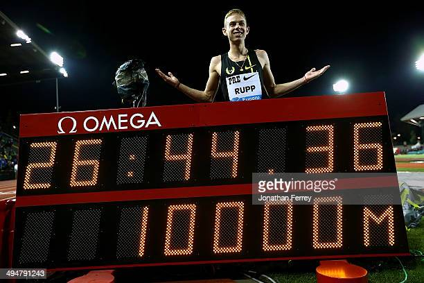 Galen Rupp of USA pose for a photo after setting an American record of 264436 after winning the 10000m during day 1 of the IAAF Diamond League Nike...