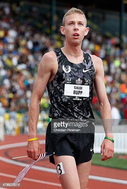 Galen Rupp reacts after finishing in third place in the Men's 5000 Meter Run final during day four of the 2015 USA Outdoor Track Field Championships...