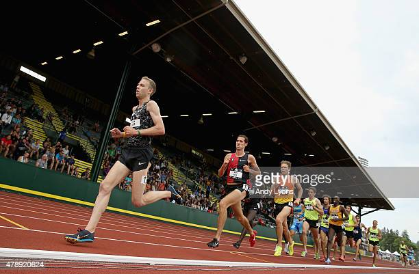Galen Rupp runs in the Mens 5000 Meter during day four of the 2015 USA Outdoor Track Field Championships at Hayward Field on June 28 2015 in Eugene...