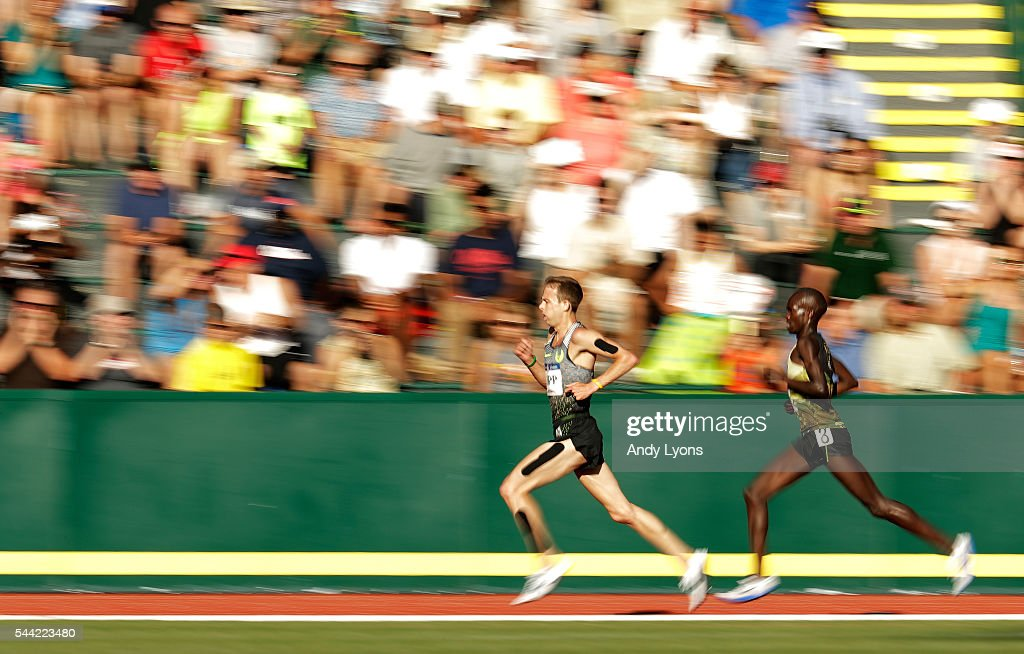 Galen Rupp runs on his way to winning the Men's 10000 Meter Final during the 2016 U.S. Olympic Track & Field Team Trials at Hayward Field on July 1, 2016 in Eugene, Oregon.