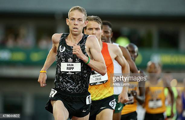 Galen Rupp runs to victory in the Mens 10000 Meter during day one of the 2015 USA Outdoor Track Field Championships at Hayward Field on June 25 2015...