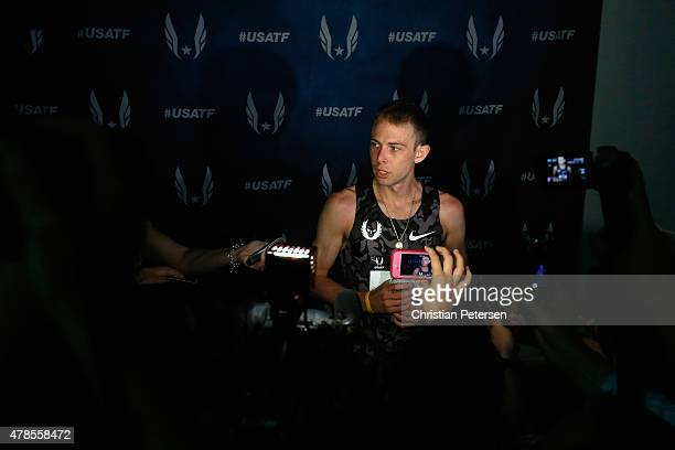 Galen Rupp speaks with the media after he winning the Men's 10000 meter run during day one of the 2015 USA Outdoor Track Field Championships at...
