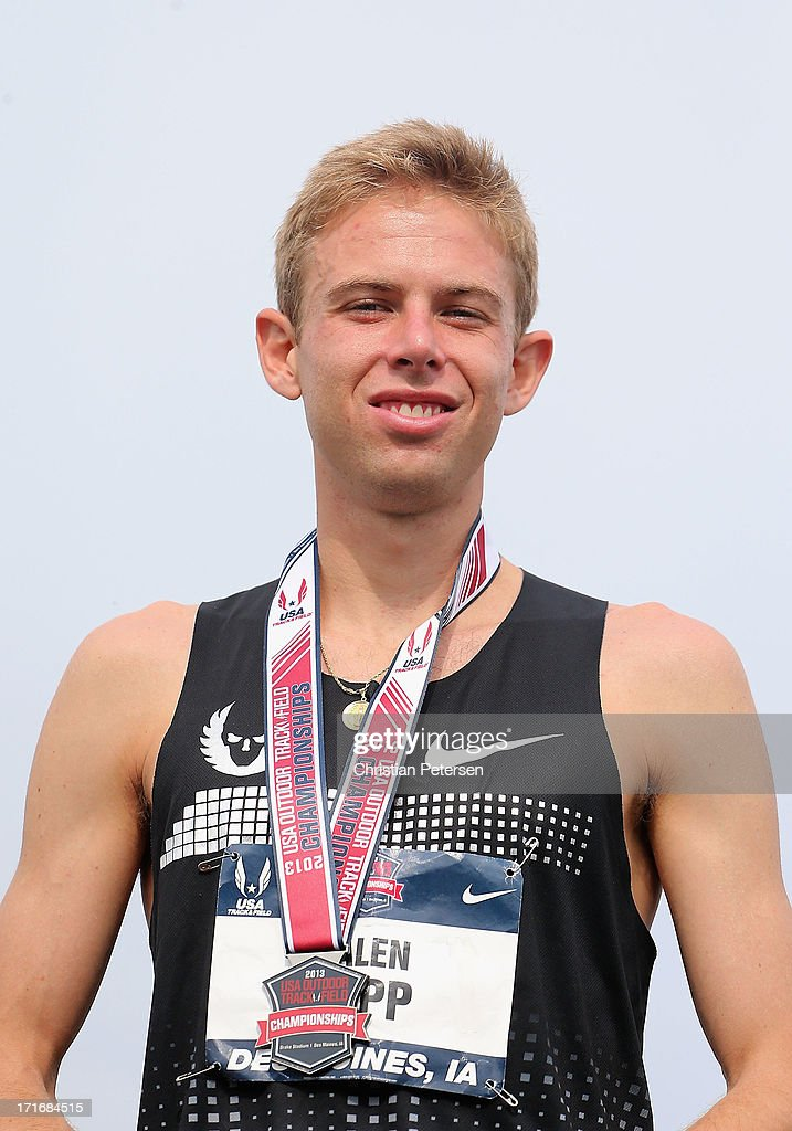 Galen Rupp stands on the podium after finishing in second place in the Men's 5,000 Meter Run on day four of the 2013 USA Outdoor Track & Field Championships at Drake Stadium on June 23, 2013 in Des Moines, Iowa.