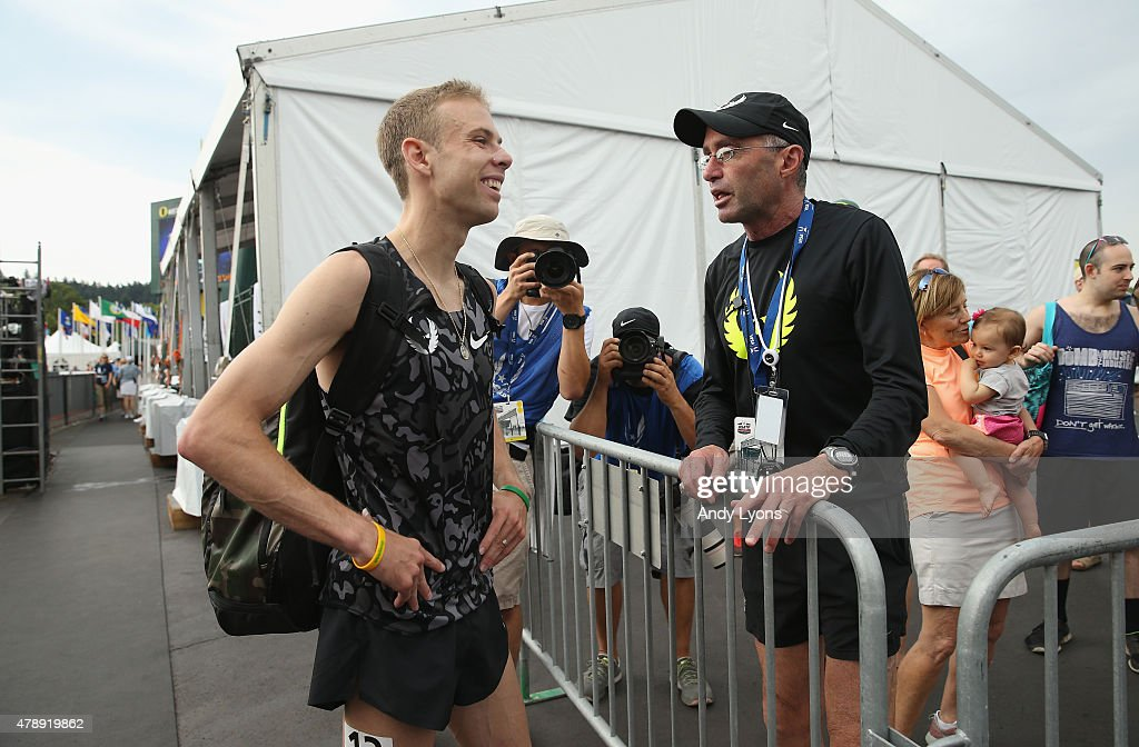<a gi-track='captionPersonalityLinkClicked' href=/galleries/search?phrase=Galen+Rupp&family=editorial&specificpeople=4076972 ng-click='$event.stopPropagation()'>Galen Rupp</a> talks with <a gi-track='captionPersonalityLinkClicked' href=/galleries/search?phrase=Alberto+Salazar&family=editorial&specificpeople=3459884 ng-click='$event.stopPropagation()'>Alberto Salazar</a> after the Mens 5,000 Meter during day four of the 2015 USA Outdoor Track & Field Championships at Hayward Field on June 28, 2015 in Eugene, Oregon.