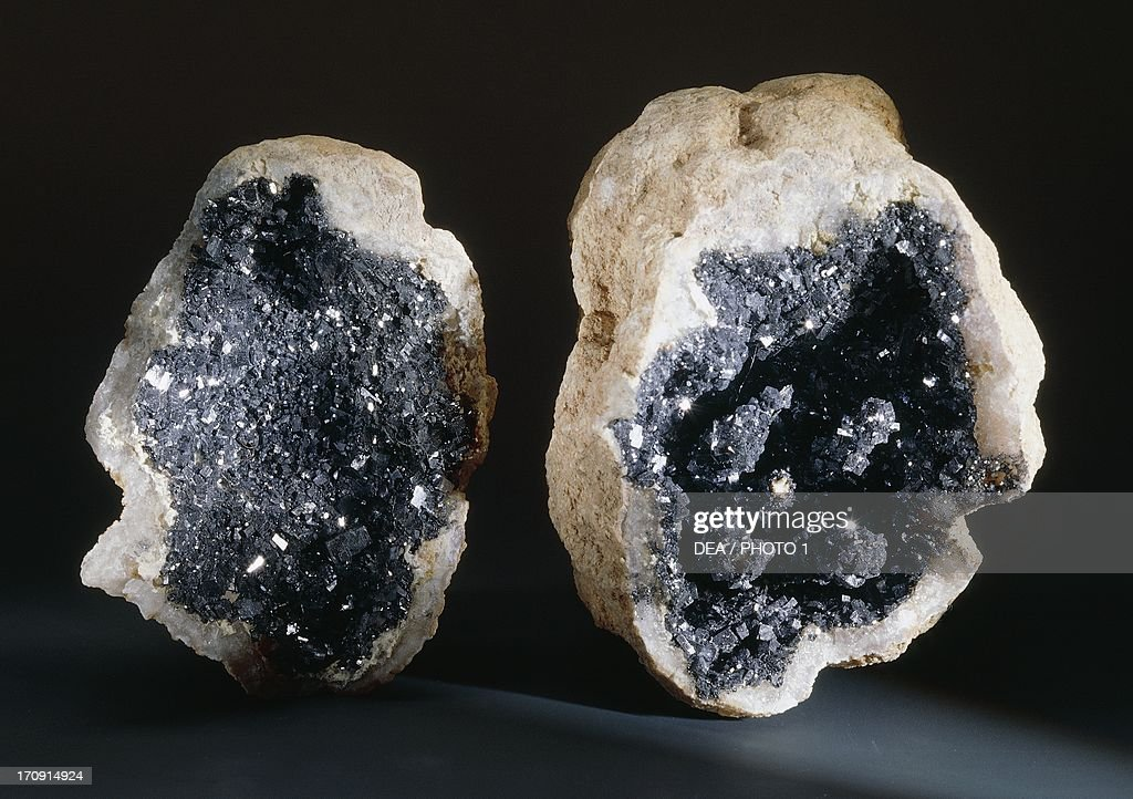 Galena pasted into Quartz geode fake minerals from Morocco