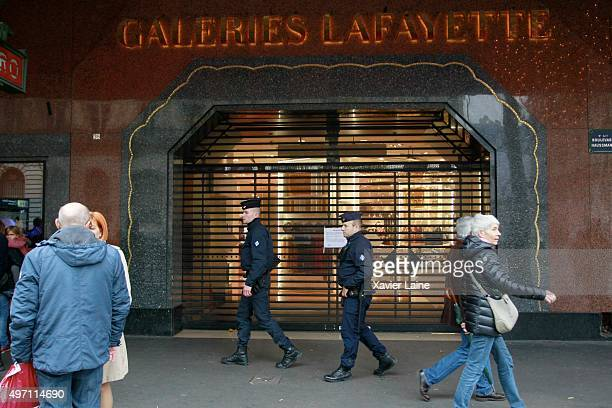 Galeries Lafayette Boulevard Haussman department store closed its door following a series of terrorist attacks in the French capital on November 14...
