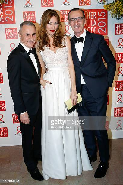 Galerist Herve Van Der Straeten Mareva Galanter and Bruno Frisoni attend the Sidaction Gala Dinner 2015 at Pavillon d'Armenonville on January 29 2015...