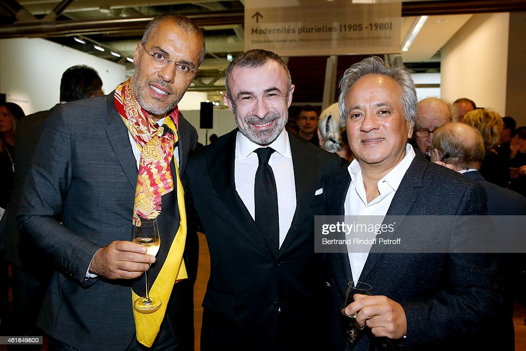 Galerist Kamel Mennour President of Centre Pompidou Alain Seban and Anish Kapoor attend the 'Societe des Amis du Musee National d'Art Moderne' Dinner...