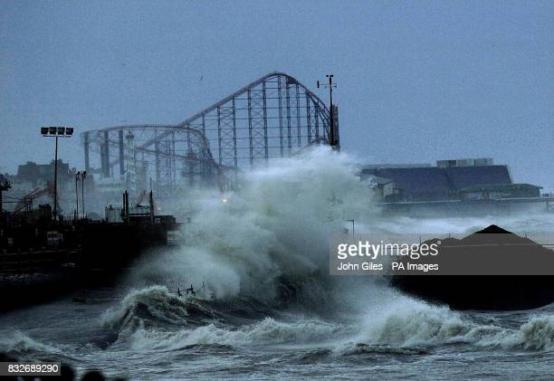 Gales batter the west coast at Blackpool with the Pleasure Beach standing behind