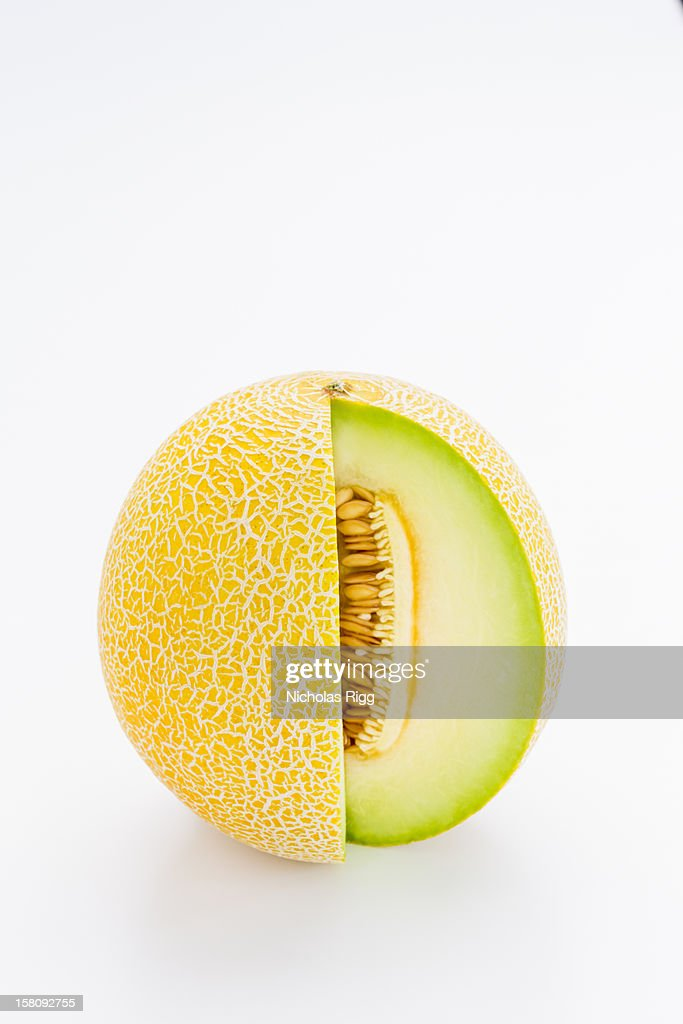 Galia melon, with a slice cut out
