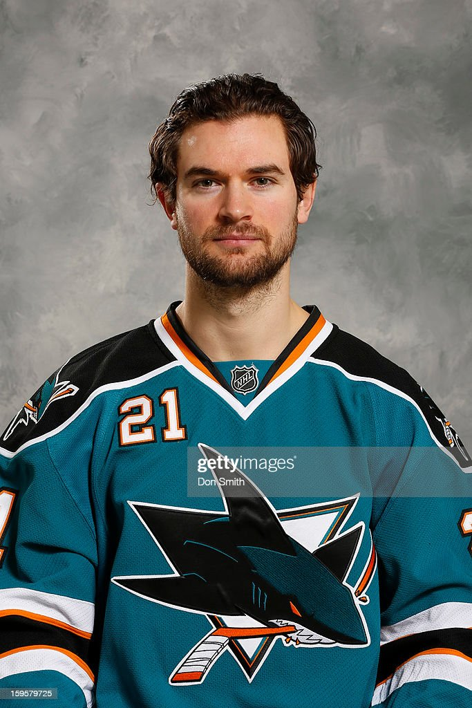 TJ Galiardi #21 of the San Jose Sharks poses for his official headshot for the 2012-13 season on January 13, 2013 at Sharks Ice in San Jose, California.