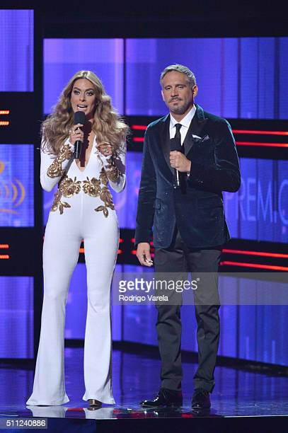 Galilea Montijo and Arath de la Torre speak onstage during Univision's 28th Edition of Premio Lo Nuestro A La Musica Latina on February 18 2016 in...