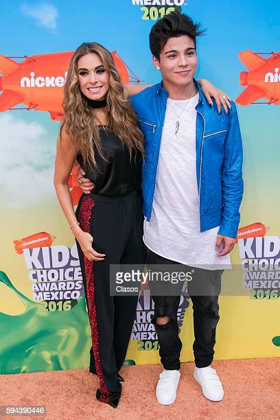 Galilea Montijo and Sebastian Villalobos pose for pictures during the Kids Choice Awards Mexico 2016 Red Carpet at Auditorio Nacional on August 20...
