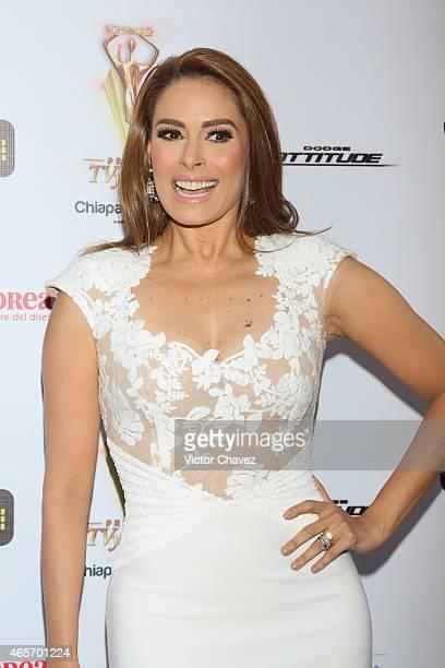 Galilea Montijo arrives at Premios TV y Novelas 2015 at Televisa San Angel on March 9 2015 in Mexico City Mexico