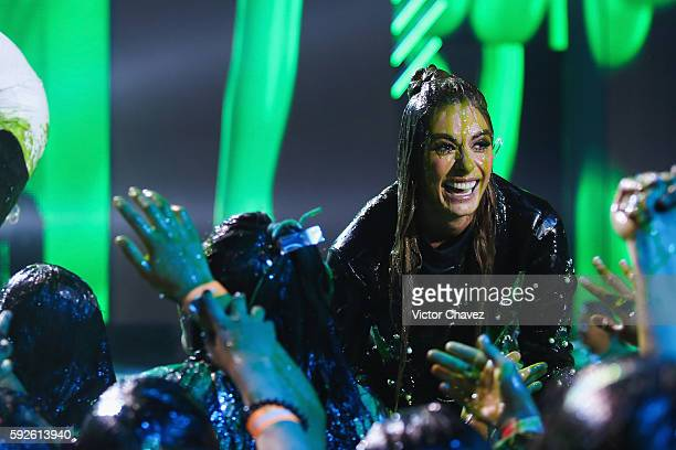 Galilea Montijo get slimed on stage during the Nickelodeon Kids' Choice Awards Mexico 2016 at Auditorio Nacional on August 20 2016 in Mexico City...
