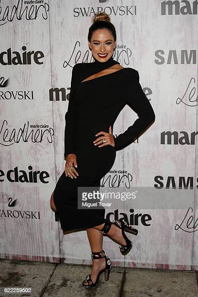 Galilea Montijo poses for pictures during the Marie Claire Leadhers Red Carpet at Fideicomiso Plutarco Elias Calles on November 10 2016 in Mexico...
