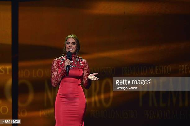 Galilea Montijo speaks on stage at the 2015 Premios Lo Nuestros Awards at American Airlines Arena on February 19 2015 in Miami Florida