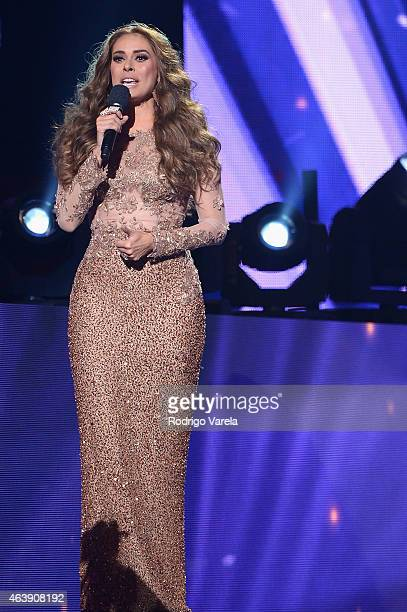 Galilea Montijo speaks onstage at the 2015 Premios Lo Nuestros Awards at American Airlines Arena on February 19 2015 in Miami Florida