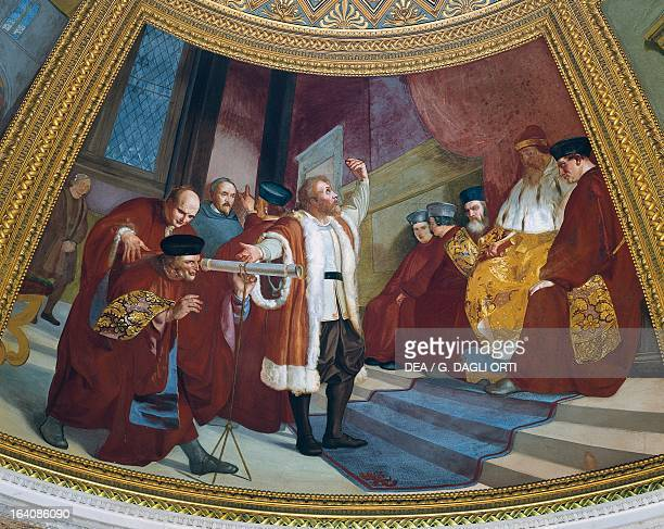 Galileo Galilei presenting his telescope to the Doge and the Venetian senate gathered on the bell tower of San Marco Venice Fresco by Luigi Sabatelli...