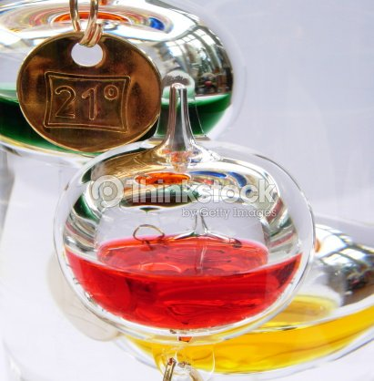 Galileo Thermometer Showing 21 Degrees Celsius Stock Photo