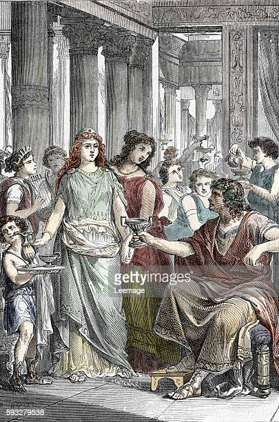 Galla Placidia daughter of roman emperor Theodosius I in captivity after she was captured by Alaric I King of the Visigoths 410 AD Engraving from...