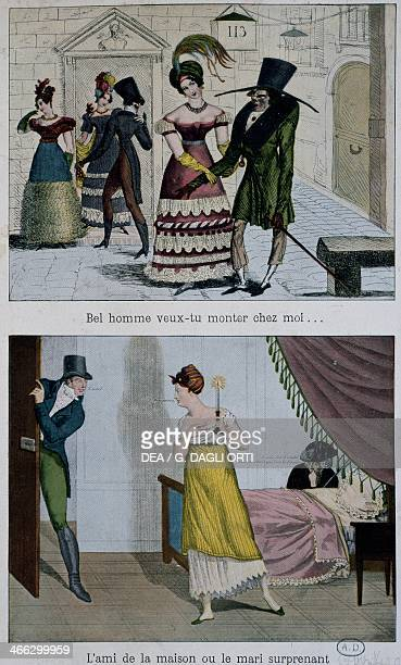 Gallant scenes engraving France 19th century