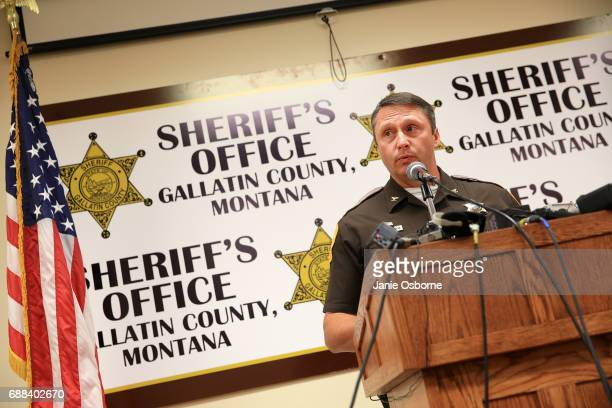 Gallatin County Sheriff Brian Gootkin speaks to the press about Republican candidate Greg Gianforte's involvement with Reporter Ben Jacobs at a press...