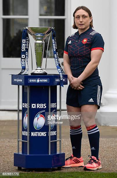 Galle Mignot Captain of France Women poses with The Six Nations Trophy during the 2017 RBS Six Nations launch at The Hurlingham Club on January 25...