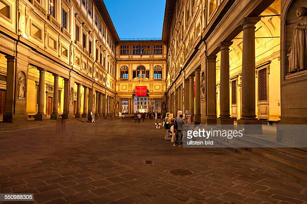 Galleria degli Uffizi illuminated at Night in Florence Italy