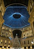 Christmas tree in Vittorio Emanuele II Galleria, Milan, Italy