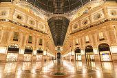 Galleria Vittorio Emanuele II at night, Milan, Lombardia, Italy
