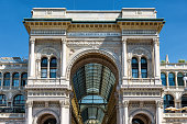 Galleria Vittorio Emanuele II on the Piazza del Duomo (Cathedral Square) in Milan, Italy. This gallery is one of the world's oldest shopping malls and tourist attraction of Milan.