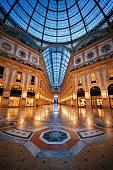 Galleria Vittorio Emanuele II shopping mall interior in Milan, Italy.