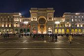 night view of the galleria vittorio emanuele II, Milan, Italy