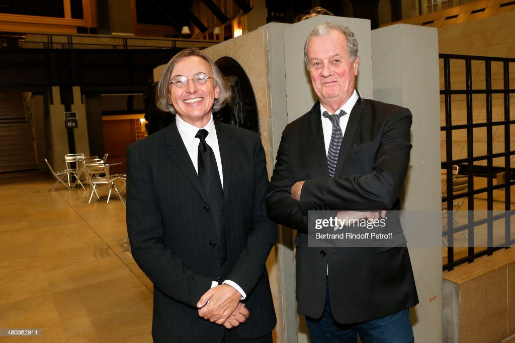 Gallerist Pierre Passebon and interior decorator Jacques Grange attend the dinner party of the Societe Des Amis Du Musee D'Orsay (The Friends of Orsay Museum Society) at Musee d'Orsay on March 24, 2014 in Paris, France.