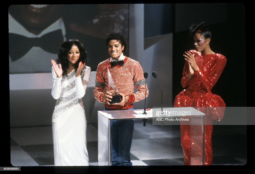 January 30, 1981. MICHAEL JACKSON, FAVORITE SOUL/R&B MALE ARTIST WITH PRESENTERS LA TOYA JACKSON (L) AND