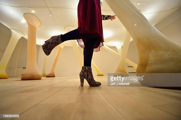A gallery assistant poses next to the artwork by Ernesto Neto 'It happens when the body is anatomy of time 2000' at The Scottish National Gallery of...
