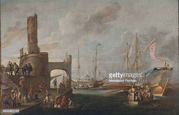 A galley and two Dutch vessels in a port by Cornelis de Wael and Andries Van Eertvelt 17th Century oil on canvas