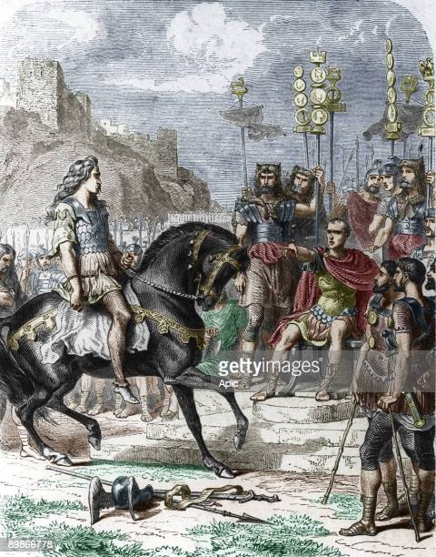 gallic leader Vercingetorix after his defeat laying down his arms to the emperor Julius Caesar after the battle of Alesia 52 BC engraving by Trichon...