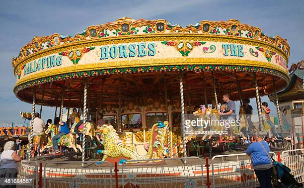Galloping Horse traditional fairground carousel ride Great Yarmouth Norfolk England