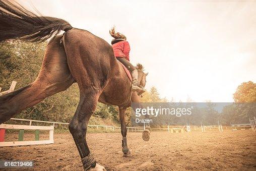 Galloping cheval avec cycliste : Photo