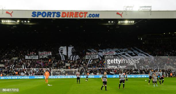 Gallowgate flags put on another flag display during the Premier League match between Newcastle United and Crystal Palace at StJames' Park on October...