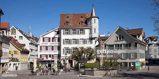Gallusbrunnen fountain, Gallusplatz square in the old town, St. Gallen, Canton of St. Gallen, Switzerland