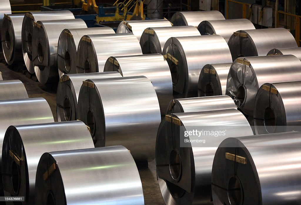 Galvanised steel rolls stand after manufacture at the OAO Novolipetsk Steel plant, also known as NLMK, in Lipetsk, Russia, on Wednesday, Oct. 17, 2012. OAO Novolipetsk Steel, controlled by billionaire Vladimir Lisin, became Russia's largest steelmaker by output after boosting production by 24 percent. Photographer: Andrey Rudakov/Bloomberg via Getty Images