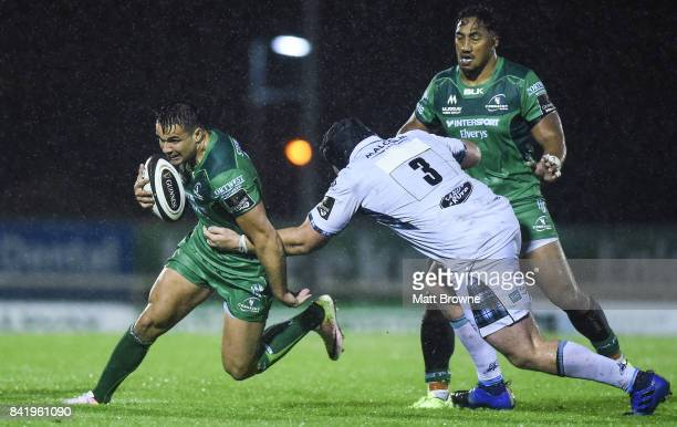 Galway Ireland 2 September 2017 Cian Kelleher of Connacht Rugby is tackled by Zander Fagerson of Glasgow Warriors during the Guinness PRO14 Round 1...